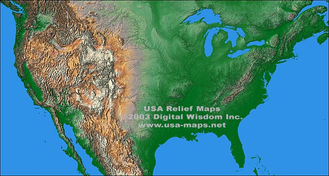 USA Maps Relief Maps And Vector Maps - Relief map us