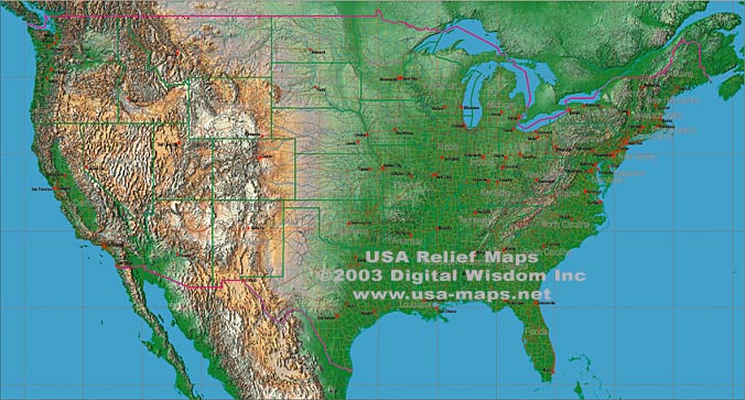 Usa Map Relief